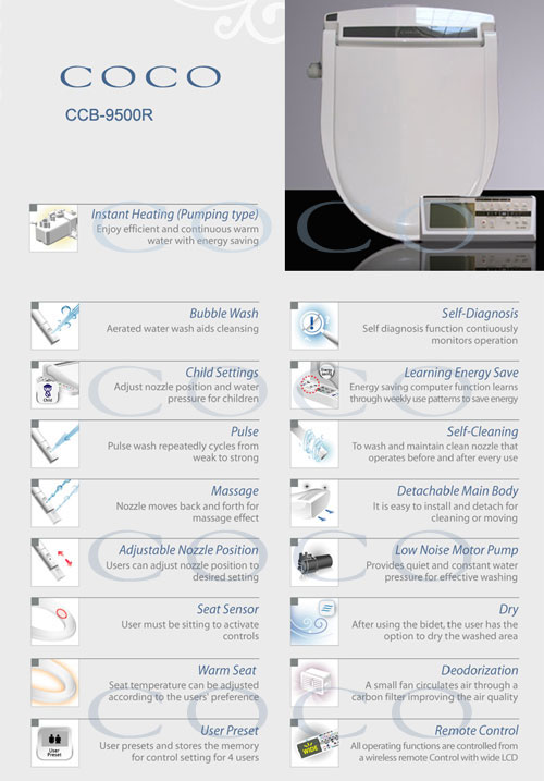 The Coco Bidet 9500 Feature List
